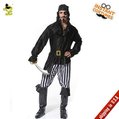 Adult Men Striped Cool Pirate Costume Halloween Party Cold Buccaneer Cosplay Set