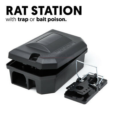 Rat Bait Station Box with Strong Snap Trap or Grain Pasta Blocks Killer Poison