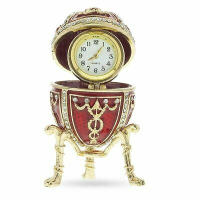 1895 Rosebud Royal Russian Egg with Clock Surprise 2.9 Inches