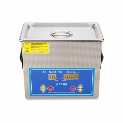 Stainless Steel 3L Industry Ultrasonic Cleaner Heater w/Timer Jewel Clean Tank