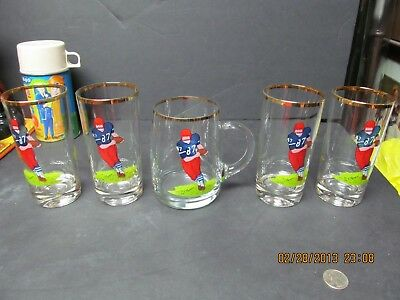 OLYMPIA SET OF 4 BEER GLASSES & ONE STEIN WITH A FOOTBALL PLAYER ON EACH 1950's?