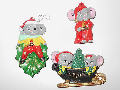 Vtg Ceramic Mice Mouse Xmas Ornament Holly Leaf Sleigh Ride Night Gown Set of 3