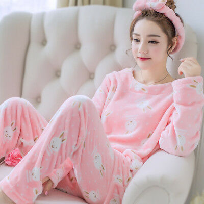 Cute Women Winter Warm Flannel Coral Velvet Pajamas Set Nightgown Soft Sleepwear