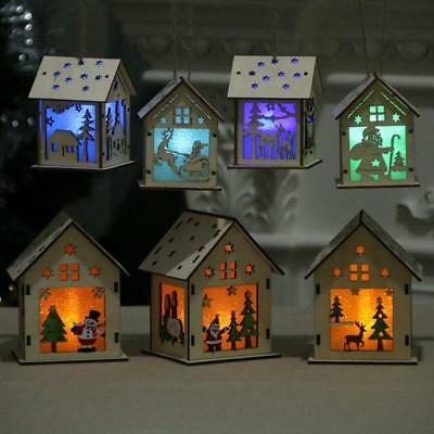 vintage Xmas tree ornaments Wooden glowing house christmas decorations job lot