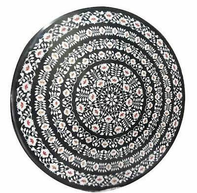 """30""""x30"""" Marble Dining Table Top Mother of Pearl Gems Floral Inlay Art Home Decor"""