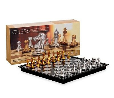 Magnetic Travel Chess Set with Board That Becomes A Storage Compartment