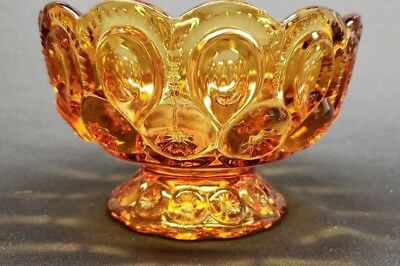 "Vintage Amber Moon And Stars 6 1/4"" Footed Bowl Le Smith"