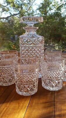 Heavy Lead Crystal Decanter and Six Glasses