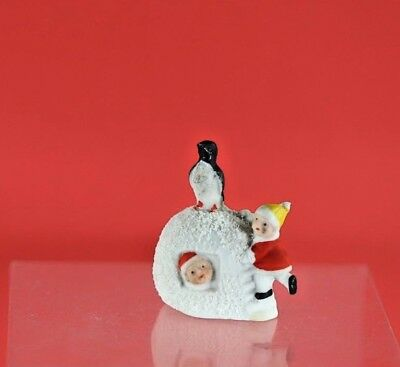 Antique German Bisque Snow Baby Two Kids in Igloo Penguin Christmas Figurine