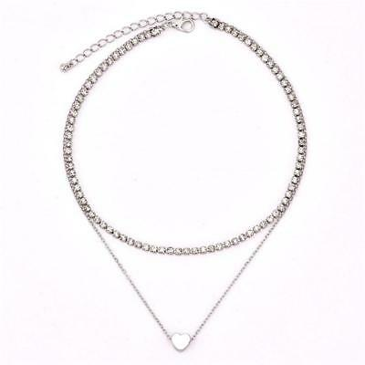 Necklace Double Layer Heart Chain Hot Multilayer Choker Pendant Gold Silver C