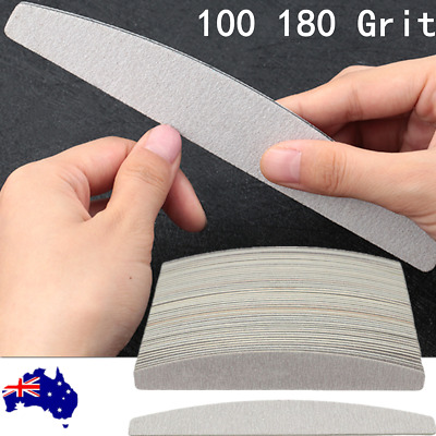 Double Sided Nail Files 100 180 Grit Banana Curved Emery Board For Nail Art Tip