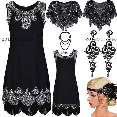 Black Classic 1920s Flapper Dress Vintage Gatsby Evening Gowns Costume Plus Size