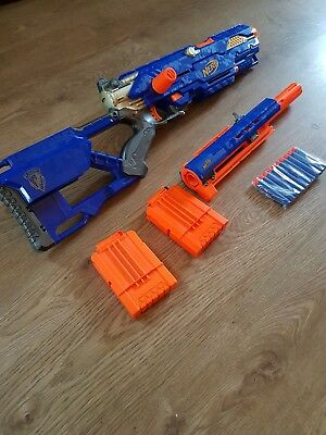 Nerf Longstrike CS-6 Sniper Rifle Toy Gun + Barrel Extension + Extras - RARE