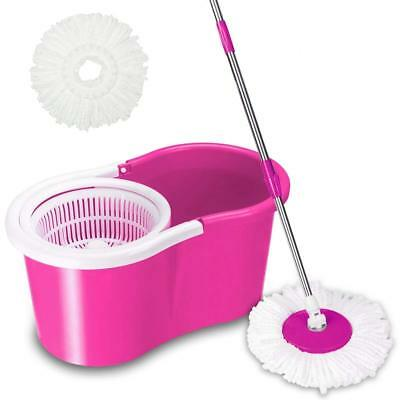 Rotating 360°Easy Floor Mop Magic Spining Microfiber Mop & Bucket & 2 Heads Pink