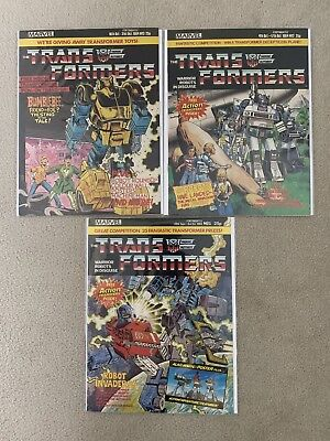 Marvel Transformers G1 UK comic Collection Issues 1 To 3 Mint