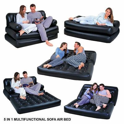 DOUBLE INFLATABLE AIR BED SOFA COUCH LOUNGER AIRBED MATTRESS ELECTRIC PUMP 5in1