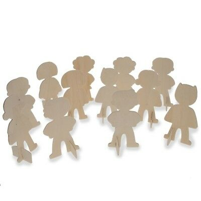 Set of 12 Unfinished Wooden Superhero Standing Cut Outs