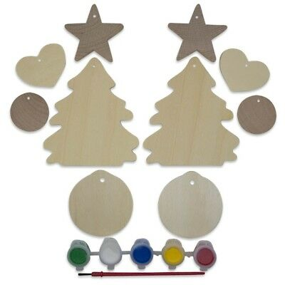10 Unfinished Wooden Christmas Tree, Heart, Ball & Star Ornament Cut Outs