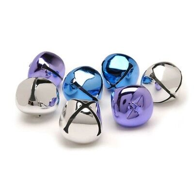 8 Silver, Blue, and Purple Metal Bells