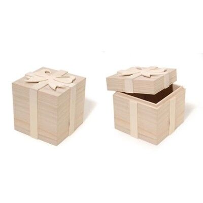 Blank Unfinished Wooden Gift Box with Bow 4 Inches