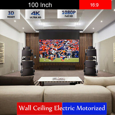 """100""""16:9 Electric Motorized HD Projector Projection Screen Cinema Theater 3D 4K"""