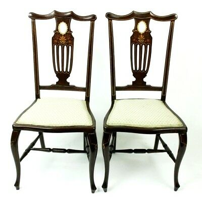 A pair of Antique Inlaid Mahogany Dining Chairs - FREE Shipping [PL4711]