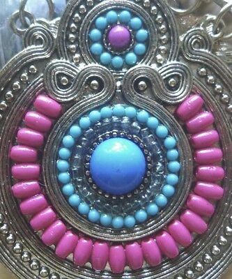 Vintage Necklace 1980s Bollywood flowers Bold Costume Pink Turquoise -NZ Estate
