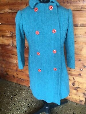 vintage Tailor made green wool coat size kids 10-12(can fit small size 6 person)