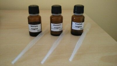 MARQUIS + MANDELIN + FROEHDE REAGENT + PIPETTES - 10 ml - DRUG TEST