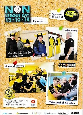 Southport v York City 2018/19 brand new football programme