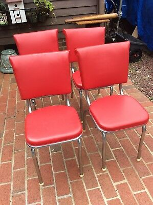 4 Set Vintage Red Kitchen Chairs W/ Chrome Legs - Studs On Top Back - Very Good