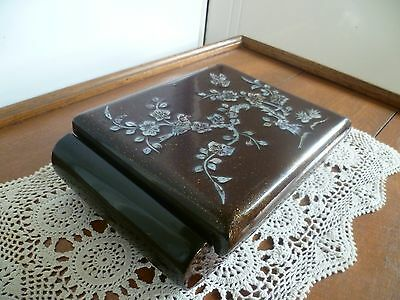 """VINTAGE JEWELLERY BOX- 40 yo - """"BROWN SPECKLE"""" with """"MOTHER of PEARL"""" DETAIL-E.C"""