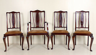 4 Antique Dining Chairs Mahogany Queen Anne Carver