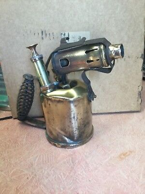 ANTIQUE BRASS  AUSTRALIAN MADE LANRAY No 102 BLOW TORCH & OLDERING IRON.