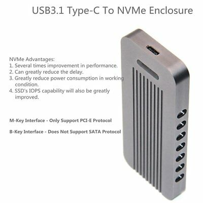 Aluminum NVMe PCIE USB3.1 HDD Enclosure M.2 to USB SSD Hard Disk Drive Case AZ
