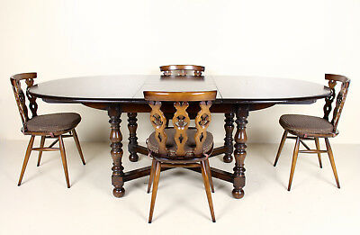 Ercol Dining Table and Chairs Oak Elm Set 4 Chairs Extending Farmhouse Country