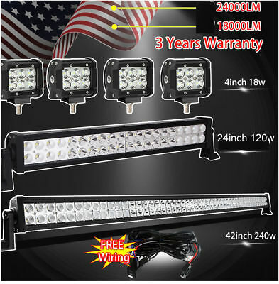 """42Inch LED Off road Light Bar Combo + 20"""" +4"""" CREE PODS SUV 4WD UTE FORD JEEP M1"""