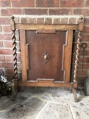 Antique Oak Barley Twist Fire Screen