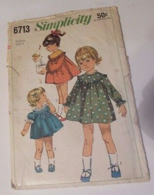 Vtg Simplicity 6713 Toddler Girl's Dress Size 4