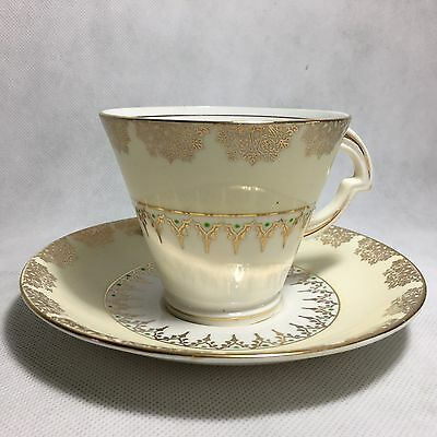 Royal Standard Fine Bone China Vintage Cup & Saucer Floral Yellow Gold Design