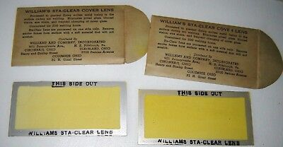 Pre 50s-unused William's Sta-Clear Cover Lens for arc welding in orig envelopes