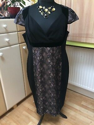 Autograph Marks & Spencer black dress size 22 with lace and satin trims