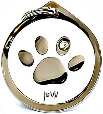Engraved Pet ID Collar Name Tags Discs Cat Dog PAW Design FREE UK DELIVERY