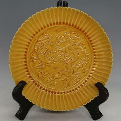 Nice Chinese Antique Monochrome Glaze Carved Porcelain Plate with Mark