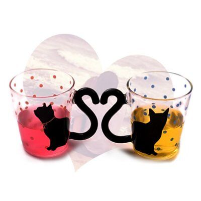 Innovative Cute Cat Kitty Glass Mug Cup Dots Decoration Cup For Home Office AZ