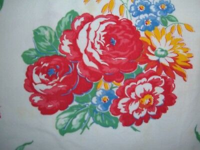 Vintage Tablecloth Towel Red Peony Mum Floral