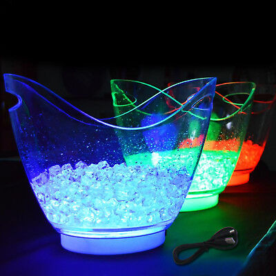 8 Ltr Rechargeable LED Color Changing Ice Bucket Container Bar Wine Party Cooler