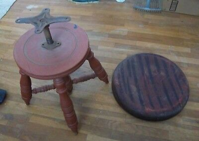 Vintage Wood Piano Stool *Great Restoration Project*