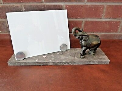 Original French Art Deco Marble Photo Frame c1930's With Spelter Elephant