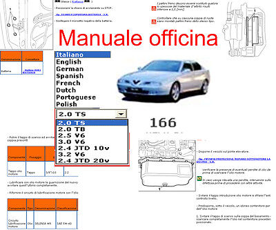MANUALE OFFICINA Alfa Romeo 166 WORKSHOP MANUAL SERVICE SOFTWARE ELEARN